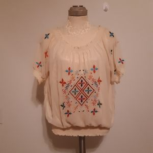 Angie Sheer Embroidered Top